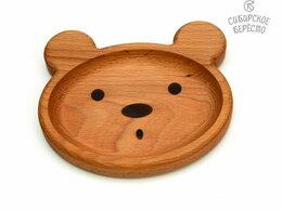 Тарелки - Тарелка деревянная с животным Медведь, 0