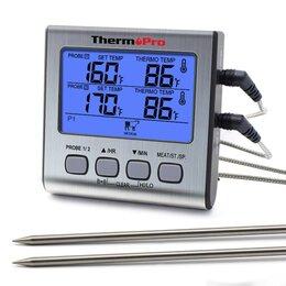 Аксессуары для грилей и мангалов - Термометр для мяса, термощуп профессиональный 2 зонда, таймер, 0