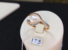 Кольца и перстни - Золотое кольцо с природным Жемчугом, размер 17,5, 0
