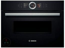 Духовые шкафы - Электрический духовой шкаф с СВЧ Bosch CMG636BB1, 0