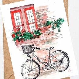 Картины, постеры, гобелены, панно - Акварельная картина Велосипед, 0