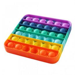 Игрушки-антистресс - Бесконечная пупырка радужный квадрат, 0