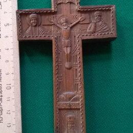 Иконы - деревянный крест-мощевик,красное дерево,киот кипарис, 18 век , 0