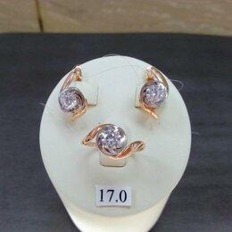 Комплекты - Золотой комплект с Фианитами, размер кольца 17, проба 585, 0