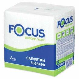 Бумажные салфетки, носовые платки - Салфетки бумажные 100 шт., 24x24 см, FOCUS Economic, белые, 100% целлюлоза, 5..., 0