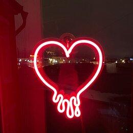 """Ночники и декоративные светильники - Неоновый светильник """"Сердце с каплями"""", гибкий…, 0"""