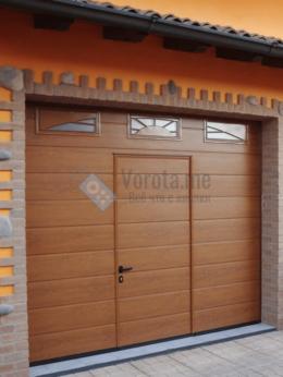 Заборы и ворота - Коричневые секционные ворота с остеклением и…, 0