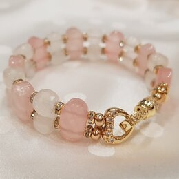 Браслеты - Браслет из Розового Кварца натуральные камни, 0
