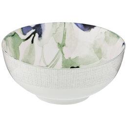 Блюда, салатники и соусники - Салатник-тарелка суповая голубой фарфоровая Aquarelle, 0
