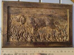 Картины, постеры, гобелены, панно - бронзовое панно Охотничья собака,19 век, 0