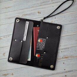 Кошельки - Мужское портмоне из черной фактурной кожи, 0