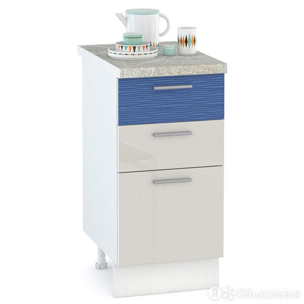 Кухня Жанна шагрень платина/голубой металл Стол 400 3 ящика по цене 4222₽ - Мебель для кухни, фото 0