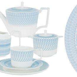 """Блюда, салатники и соусники - Чайный сервиз фарфоровый голубой на 6 персон 21 предмет """"Блюз"""", 0"""