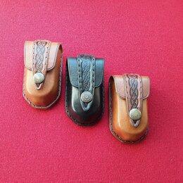 Очки и аксессуары - Кожаный очечник футляр для складных очков ручной работы , 0