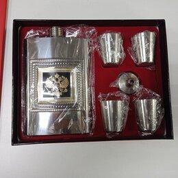Декоративная посуда - Набор фляжка с гербом России + 4 стопки + воронка, 0