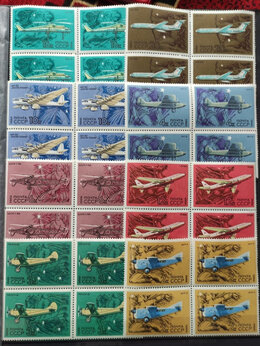 Марки - марки СССР самолёты авиация 1969 квартблок , 0