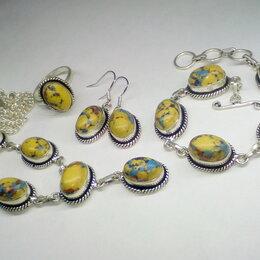 Комплекты - Комплект натуральная Яшма серебро 925, кольцо р20, серьги, браслет, колье, 0
