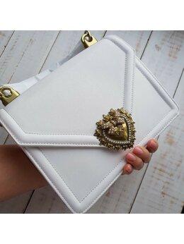 Сумки - Сумка Dolce Gabbana белая кожа женская новая, 0