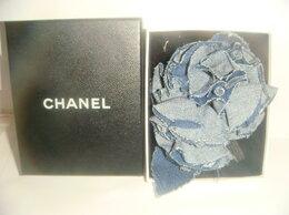 Броши - Брошь камелия джинсовая Chanel Шанель 90х годов, 0