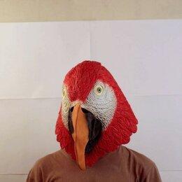 Карнавальные и театральные костюмы - Маска голова попугая красная, 0