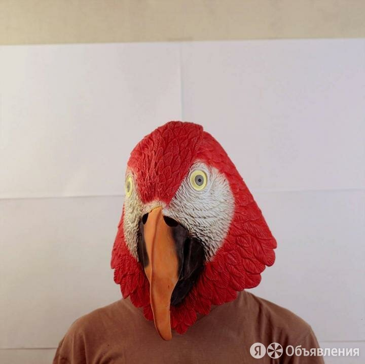 Маска голова попугая красная по цене 2900₽ - Карнавальные и театральные костюмы, фото 0
