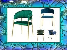 Стулья, табуретки - Стул, синий и зеленый велюр, золотой каркас, 0
