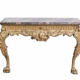 Столы и столики - Декоративная консоль с лепниной и каменной столешницей для простенка , 0