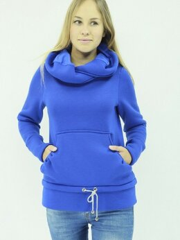 Футболки и топы - Толстовка с капюшоном женская синяя ТЖ-025, 0