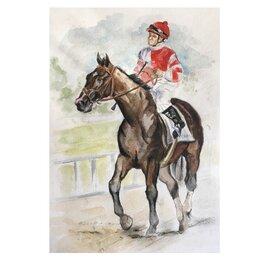 Картины, постеры, гобелены, панно - Картина «Лошадь и жокей», 0