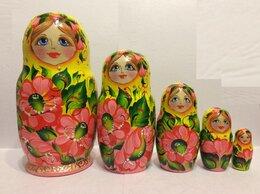 Подарочные наборы - Матрешки желтые с розовыми цветками. Набор из 5 шт, 0