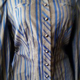 Блузки и кофточки - Рубашка серая в синюю полоску р. 44 новая Турция, 0
