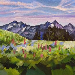 Картины, постеры, гобелены, панно - Утро свежестью манит. Масло, картина. Горы,луг,лето, 0