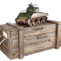 Радиоуправляемые игрушки - Р/У танк Torro Sherman M4A3, 1/16  2.4G, ИК-пушка, деревянная коробка, 0