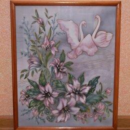 """Картины, постеры, гобелены, панно - Батик """"Лилии и лебеди"""" , 0"""