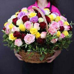 Комнатные растения - букет роз 101 роза кения  корзина, 0