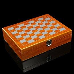 Подарочные наборы - Подарочный набор. Шахматы, карты, фляжка, стопки, 0