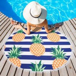 Полотенца - Полотенце пляжное круглое «Ананасы», 0