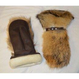 Перчатки и варежки - Рукавицы кожано-меховые, волк, внутри овчина, 0