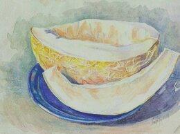 Картины, постеры, гобелены, панно - Дыня акварель натюрморт жёлтый картина подарок, 0
