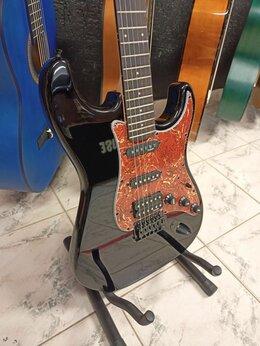 Электрогитары и бас-гитары - Электрогитара формы Stratocaster Sqoe черная, 0