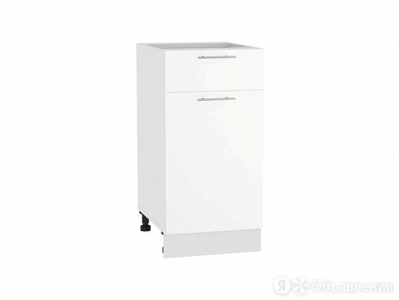 Шкаф нижний с 1-ой дверцей и ящиком Валерия-М Н 401 Белый глянец-Белый по цене 3360₽ - Мебель для кухни, фото 0