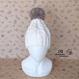 Головные уборы - Шапка вязаная с косами с помпоном, 0
