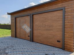 Заборы и ворота - Секционные подъёмные ворота под дерево с калиткой, 0