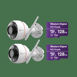 Камеры видеонаблюдения - Комплект ezviz C3W Color Night (2 шт) +Карты памят, 0
