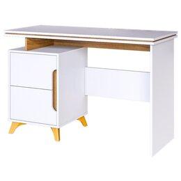 Компьютерные и письменные столы - Стол письменный Сканди (белый снег+орех лион), 0