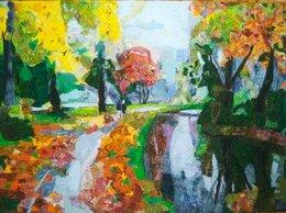 """Картины, постеры, гобелены, панно - """"Осенний пейзаж"""" лоскутная живопись, печворк, 0"""
