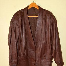 Куртки - Куртка женская кожаная коричневая, размер 46-48, 0