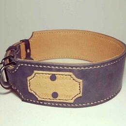 Ошейники  - Кожаный ошейник для крупной собаки + адресник, ширина 6 см., 0