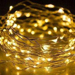 Интерьерная подсветка - Гирлянда светодиодная на батарейках Роса 10м теплый свет, с батарейками, 0