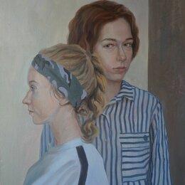 """Картины, постеры, гобелены, панно - Картина маслом на холсте """"Автопортрет с сестрой"""", 0"""